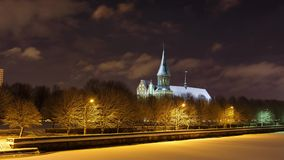 Cathedral in winter stock video