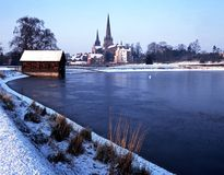 Cathedral in Winter, Lichfield, Staffordshire. Royalty Free Stock Images