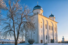 Cathedral in the winter at sunset. St. George's Cathedral of St. George's Monastery is Orthodox church of the Monastery of St. George (Veliky Stock Photography