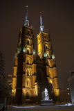 Cathedral in Wroclaw. Poland. Ostrow Tumski - the oldest part of Wroclaw - at night. View on Cathedral Stock Images