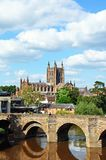 Cathedral and Wye Bridge, Hereford. Royalty Free Stock Images