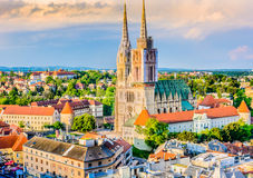 Cathedral in Zagreb, Croatia. Aerial view on cathedral in Zagreb city, capital town of Croatia, european landmarks Stock Photography