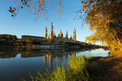 Cathedral in Zaragoza from Ebro  in  morning.  Spain Royalty Free Stock Image