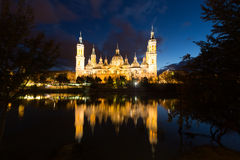 Cathedral in Zaragoza from Ebro river in evening. Aragon Royalty Free Stock Images