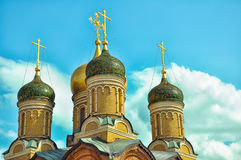 Cathedral of the Znamensky Monastery. Golden domes. Moscow. Cathedral of the Icon of the Mother of God. A sign in the Znamensky Monastery. Golden domes. Temple Royalty Free Stock Photography