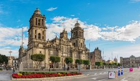 Cathedral on Zocalo, Mexico City. Mexico City, Mexico - December 4, 2016: Beautiful view of Cathedral on Zocalo, Mexico City, Mexico Royalty Free Stock Photography