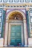 Cathedrale二圣玛丽亚del菲奥雷的门户在佛罗伦萨 库存图片