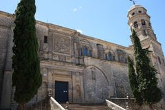 Cathedrale of Baeza, Andalusian, Spain. The Cathedrale of Baeza, Jaen province, Spain in Springtime. The Cathedral of the Nativity of Our Lady is the Renaissance Stock Image