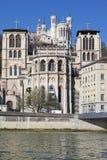 Cathedrale de Jean de saint et basilique de Notre Dame de Fourviere Image libre de droits
