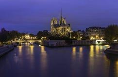 Cathedrale Notre Dame巴黎在暮色时间 图库摄影