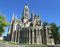 Cathedrale Notre-Dame de Bayeux, France. Cathédrale Notre-Dame de Bayeux is a beautiful Norman-Romanesque cathedral, located in the town of Bayeux. It was the Stock Images