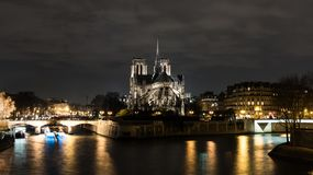 Cathedrale Notre Dame de Paris at night Stock Image