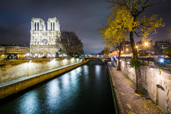 The Cathédrale Notre-Dame de Paris and the Seine at night, in P Stock Images