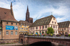 Cathedrale Notre Dame de Strasbourg and surroundings Royalty Free Stock Images
