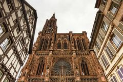 Cathedrale Notre-Dame eller domkyrka av vår dam i Strasbourg, Al Arkivbilder