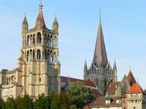 Cathedrale Notre-Dame, Lausanne (Suisse) Royaltyfria Bilder