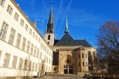 Cathedrale Notre Dame Luxembourg City Arkivbilder