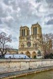 Cathedrale Notre Dame Notre-Dame de Paris van Petit Pont, Parijs, Frankrijk wordt gezien dat stock afbeeldingen