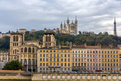 Cathedrale Saint Jean and Basilique Notre Dame de Fourviere Royalty Free Stock Photography