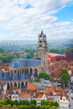 Cathedrale saint Sauveur  in the Bruges cityscape Royalty Free Stock Photography