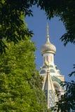 Cathedralesaint nicolas, Russische Orthodoxe die Kerk, in 1912, Nice, Frankrijk wordt ingehuldigd Stock Fotografie