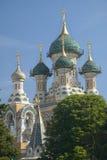 Cathedralesaint nicolas, Russische Orthodoxe die Kerk, in 1912, Nice, Frankrijk wordt ingehuldigd Stock Afbeeldingen
