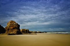Cathedrals Beach is one of the most beautiful beaches in Spain, located in Galicia in the North of Spain. Its named after the giant rock formations that stock photo