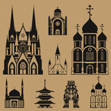 Cathedrals and churches. Infographic set Stock Image