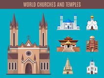 Cathedrals, churches and mosques building vector set Royalty Free Stock Images