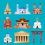 Cathedrals, churches and mosques building vector set Stock Image