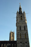 Cathedrals in Gent, Belgium. Belfry Tower and Saint Bavo Cathedral Royalty Free Stock Photos