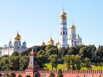 Cathedrals on green hills in Moscow Kremlin stock photos