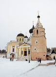 Cathedrals of Holy Assumption Monastery in Staritsa, winter Royalty Free Stock Images