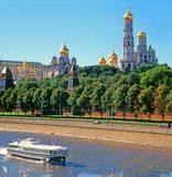 Cathedrals of the Moscow. Kremlin and the river Moscow are removed with prospect Stock Photos
