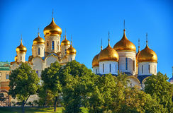 The cathedrals in Moscow Kremlin Stock Photos