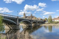 Cathedrals of Salamanca Spain. Cathedrals of Salamanca seen from the bank of the river Tormes in spring Stock Photography