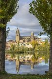 Reflection in the river of the cathedrals of Salamanca, Spain Royalty Free Stock Image