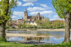 Cathedrals of Salamanca Spain. Cathedrals of Salamanca seen from the jetty of the Tormes River in spring Stock Photo