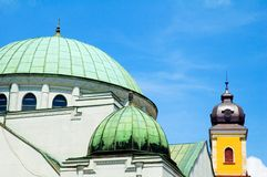 Cathedrals in slovakia. Yellow and green churches in trencin, slovakia Royalty Free Stock Photos