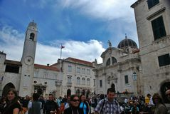 Cathedrals of St. Blaise and municipal belfry, Dubrovnik Stock Image