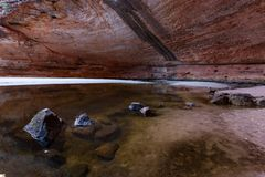 The Amphitheater, Catherdral Gorge, Purnululu National Park. Catherdral Gorge in the Purnululu World Heritage Area is a very special place in the world. Its royalty free stock photo
