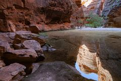 The Amphitheater, Catherdral Gorge, Purnululu National Park. Catherdral Gorge in the Purnululu World Heritage Area is a very special place in the world. Its stock image