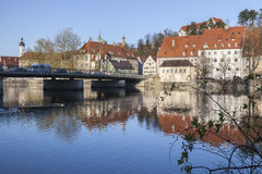 Catherine Bridge and the River Lech in Landsberg Royalty Free Stock Image