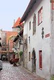 Catherine Lane 135 m en mening van Hellemann-toren in het historische district van Oude Stad, Tallinn, Estland stock afbeelding