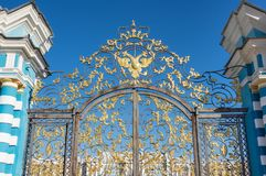 The Catherine Palace. Is a Rococo palace located in the town of Tsarskoye Selo Pushkin, Saint- Petersburg, Russia stock photos