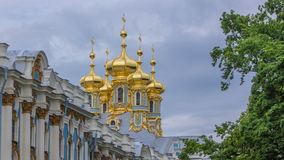 Catherine Palace with Church of the Resurrection timelapse. The Tsarskoye Selo is State Museum-Preserve. Located near Saint-Petersburg stock video