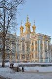 Catherine Palace in de winter Pushkin, Tsarskoye Selo, Heilige Peter Stock Foto's