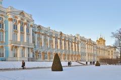 Catherine Palace in de winter Pushkin, Tsarskoye Selo, Heilige Peter Stock Fotografie