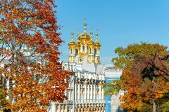 Free Catherine Palace Dome In Autumn Foliage, Tsarskoe Selo, Saint Petersburg, Russia Stock Images - 128532344