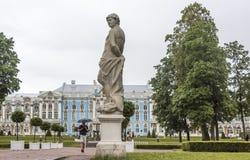 Catherine Palace i Tsarskoye Selo i regnet Arkivbild